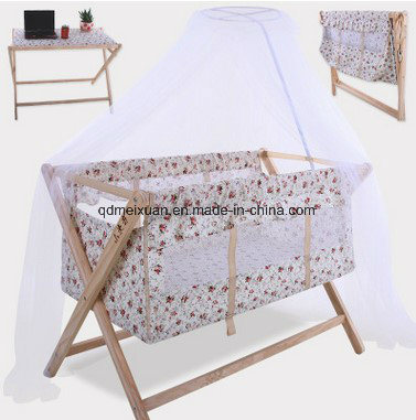 Solid Wood Bed Swing Baby Folding Children Bed Multi-Functional Adjustable Desk (M-X3842)
