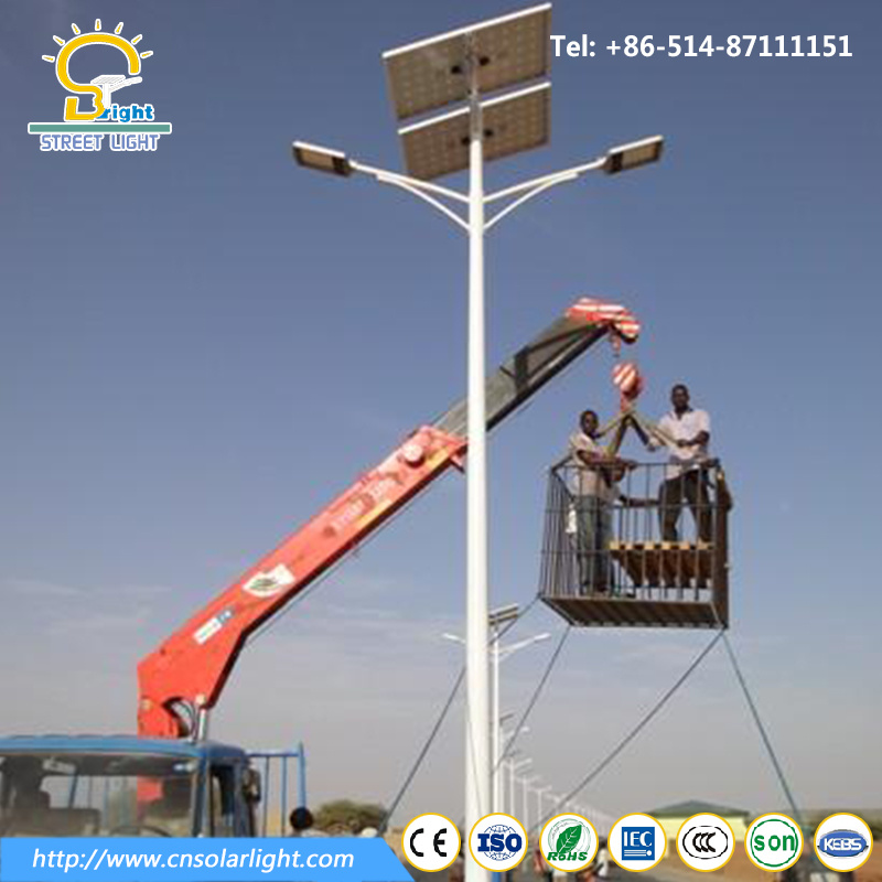 Good Quality Double Arms Solar Street Light with LED Lamp in Highway