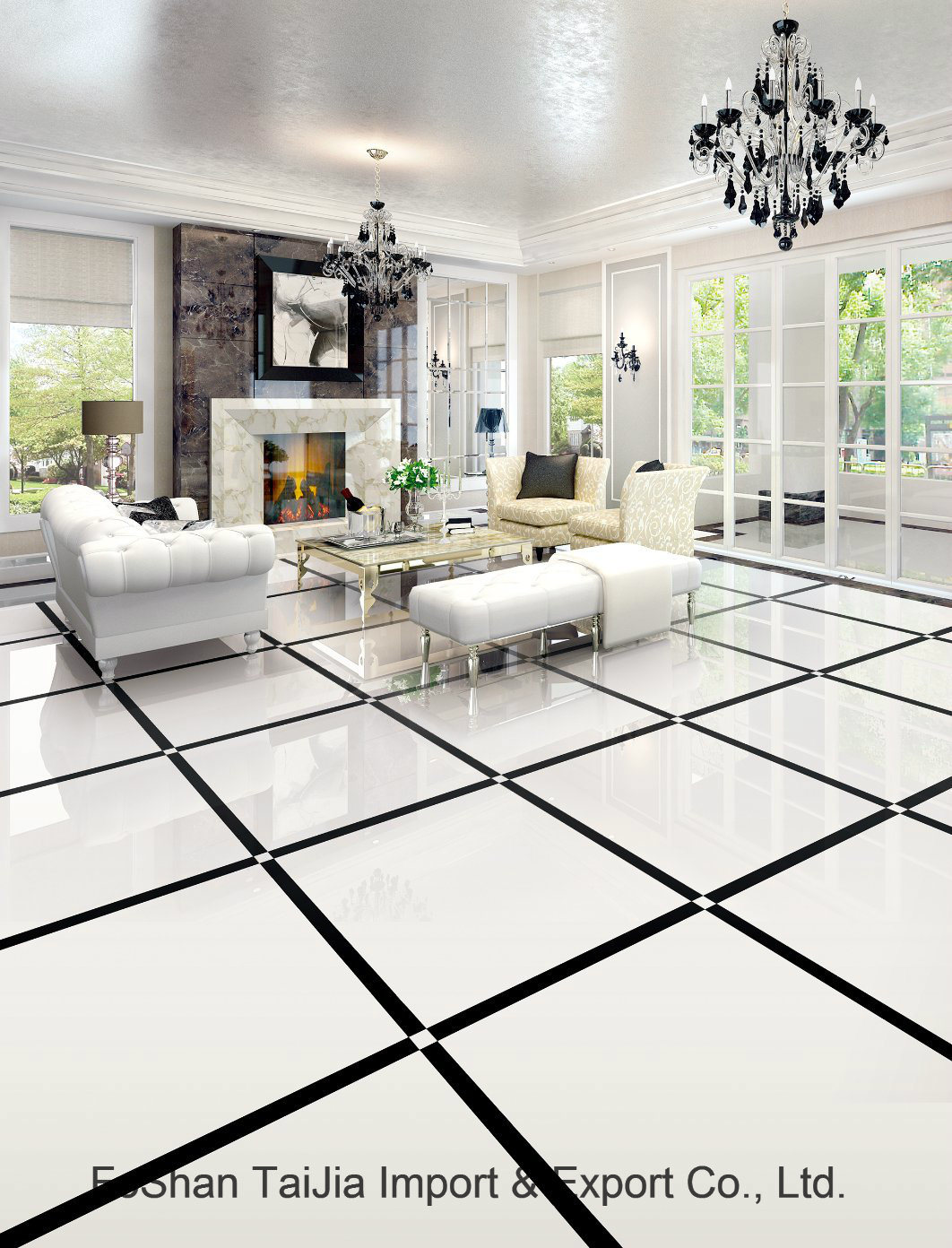 Full Polished Glazed 600X600mm Porcelain Floor Tile (TJ62001)