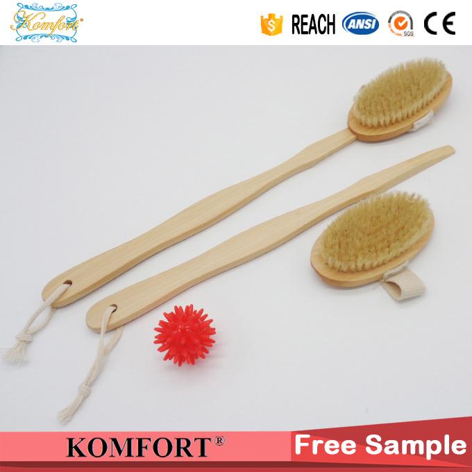 Natural Boar Bristle SPA Dry Skin Body Scrubber Wood Bath Brush (JMHF-118)