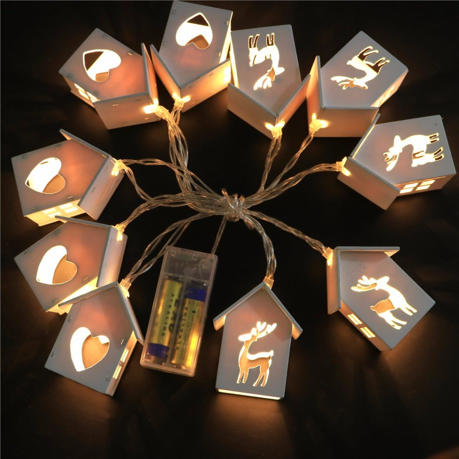 Christmas Decoration Wood Shape Fairy Light in Warm White