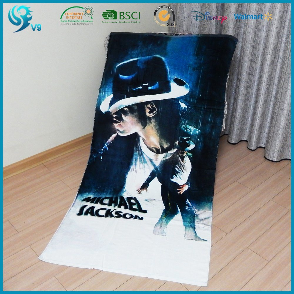 100% Cotton Velour Reactive Printed Custom Beach Towel