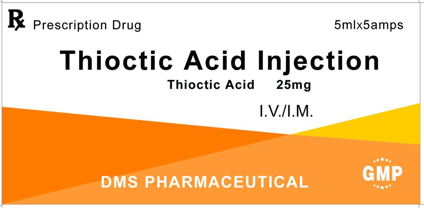 Thioctic Acid (Lipoic Acid) Injection 25mg GMP Factory