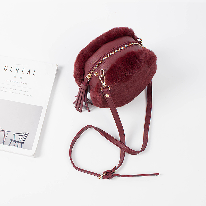 Trendy Winter Womens Crossbody Bag Leisure Style Ladies Handbag Plush Material Style PU Bag #A110
