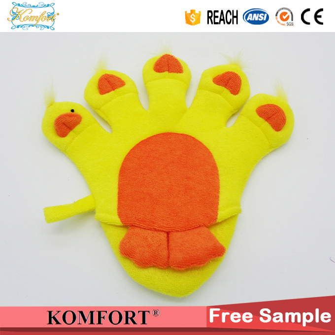 Promotion Bath Cleaning Scrubber Glove Baby Animal Duck Hand Puppet (KLB-115)