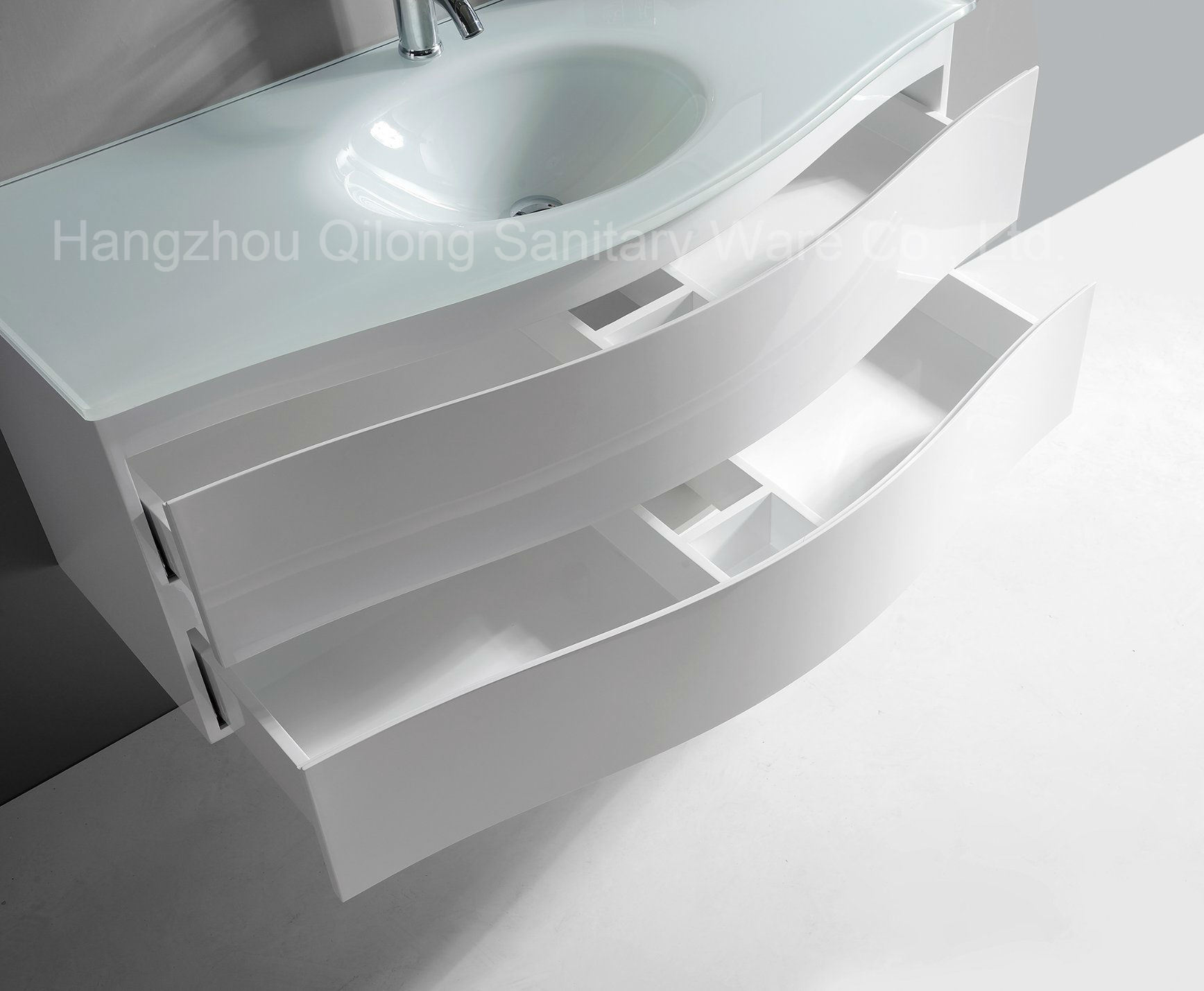 Soft Closing PVC Bathroom Cabinet with Glass Basin