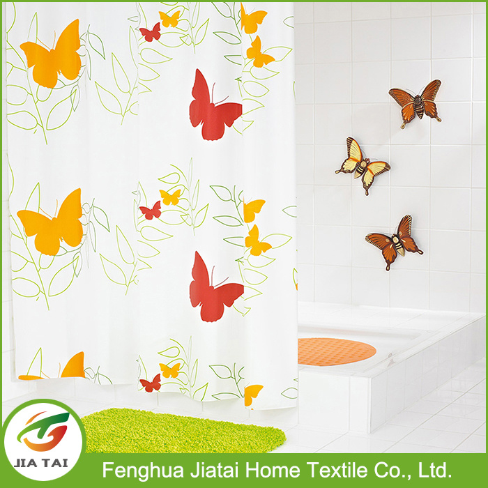 Custom Cheap Modern Butterfly Polyester Fabric Shower Curtain for Kids