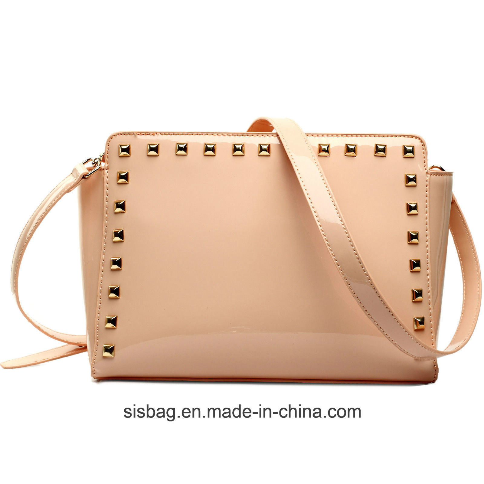 Womens Ladies Mirro PU Patent Studded Cross Body Shoulder Bag