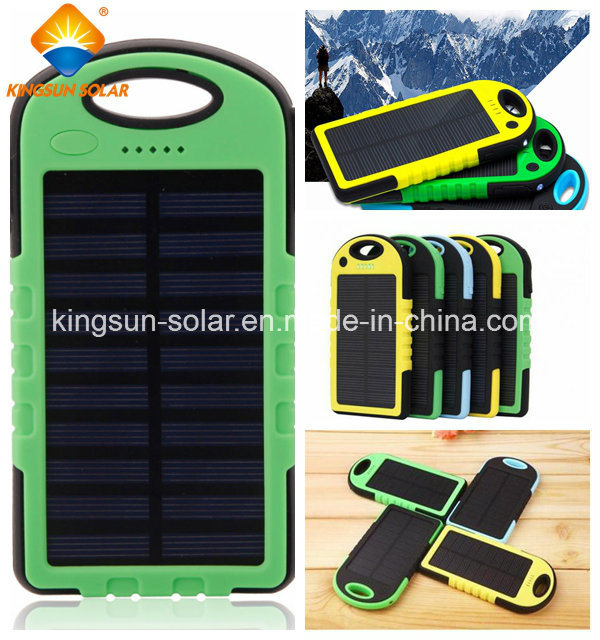 5000mAh Dual-USB Waterproof Solar Power Bank Battery Charger for Cell Phone