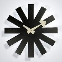 Steel 3mm Thickness Balck Asterisk Clock by Geroge Nelson