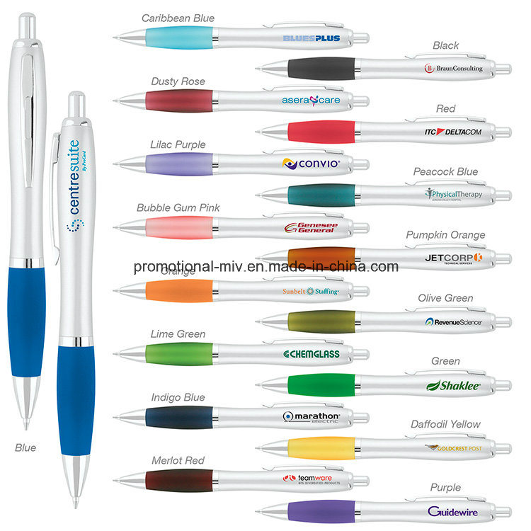 Promotional Pens Silver Plastic Ballpoint for Promotion