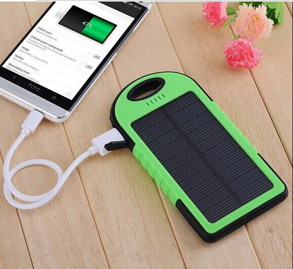 5000mAh Solar Power Bank Dual USB Port Battery Charger
