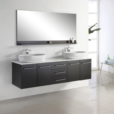 Double Sink Modern Wall Mounted Bathroom Cabinet