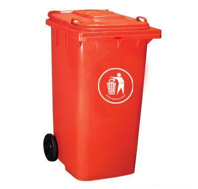 Red 120L Injection Plastic Dustbin