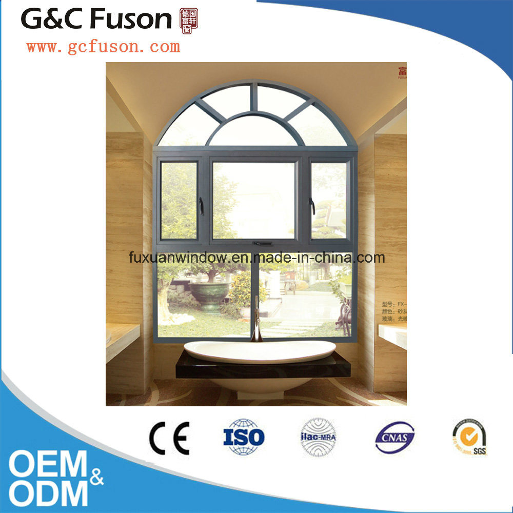 Arc Roof Aluminum Casement Window with Mirror Glass