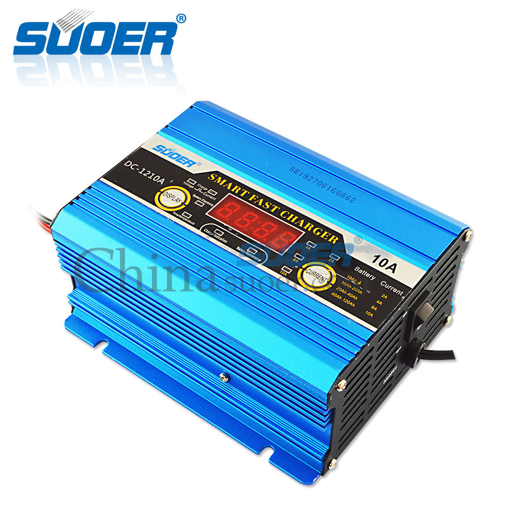 Suoer Digital Display 12V 10A Portable Battery Charger Smart Fast Charger (DC-1210A)