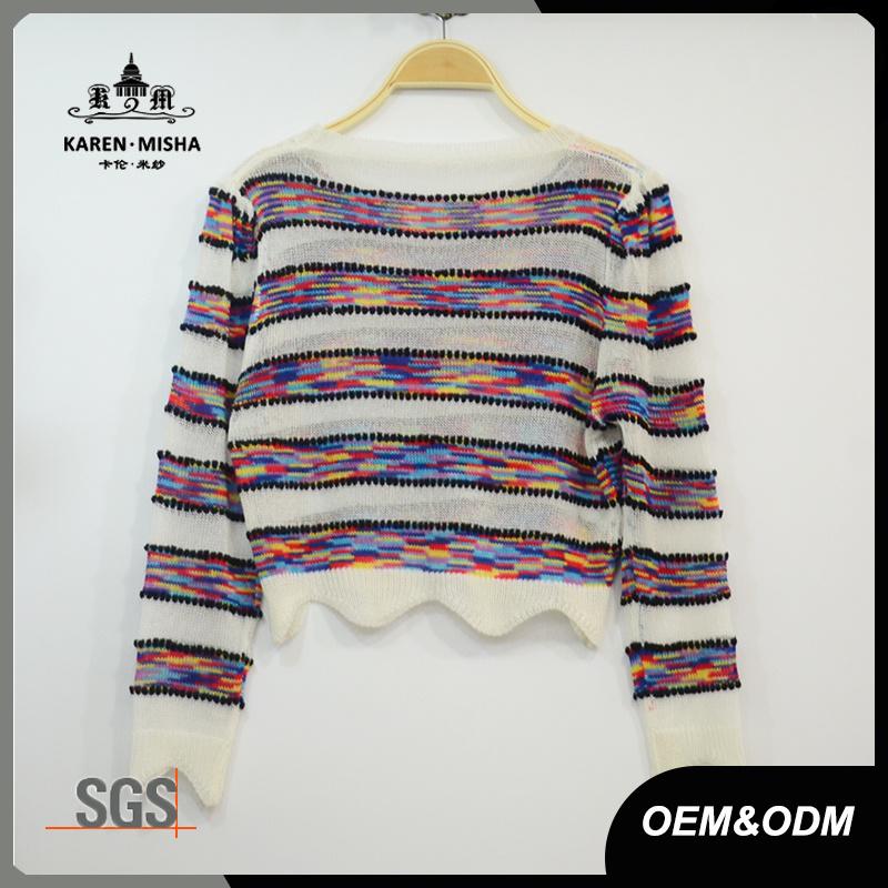Women Boho Wave Fashion Crop Striped Colored T-Shirt