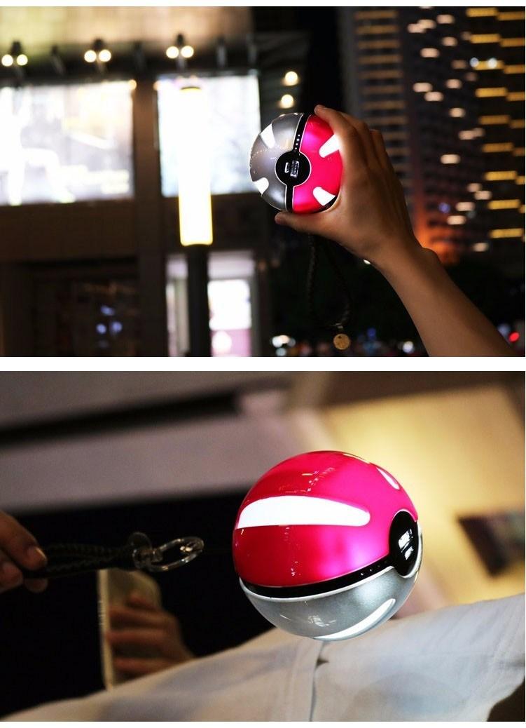 Hot Selling 10000mAh Universal Pokemon Go Smart Power Bank Portable Charger with LED Light for Phone USB Pokeball Power Bank