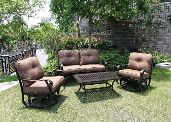 Garden Leisure Cast Aluminum Swivel & Glide Chat Group Set Furniture Tea Table Loveseat 4 People Seating Country Club Chair Set Coffee Table Sofa and Ottoman