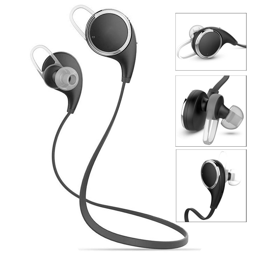 Bluetooth Headphones Qy8 [Update Qy7] V4.1 Wireless Sport Headphones Stereo in-Ear Noise Cancelling Sweatproof Headset with Apt-X/Mic for iPhone 6s Plus Samsung