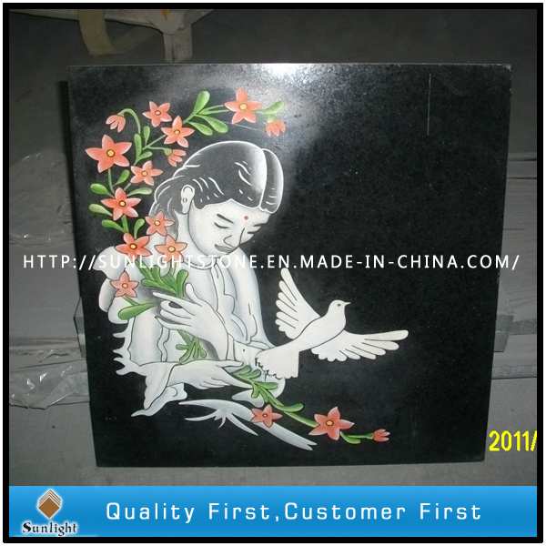 Black Stone Granite Shadow Carving Craft with Customize Design