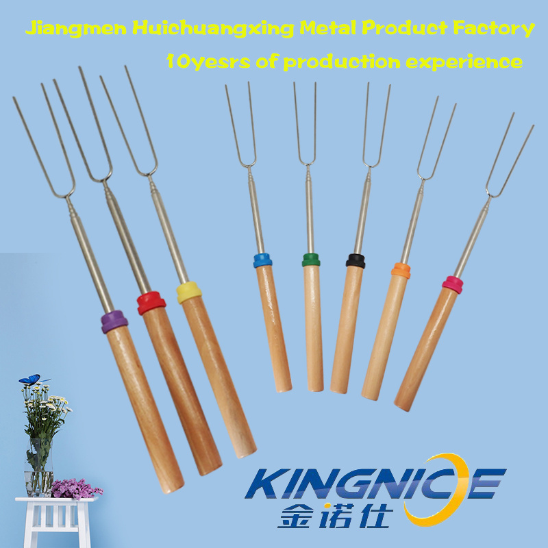 Amazon Hot Sale 32 Inch Wooden Handle Telescopic Marshmallow Roasting Sticks BBQ Fork
