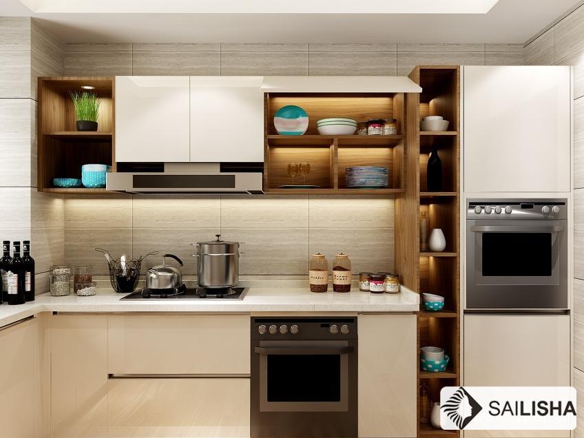 Netherland Modern Home Hotel Furniture Island Wood Kitchen Cabinet
