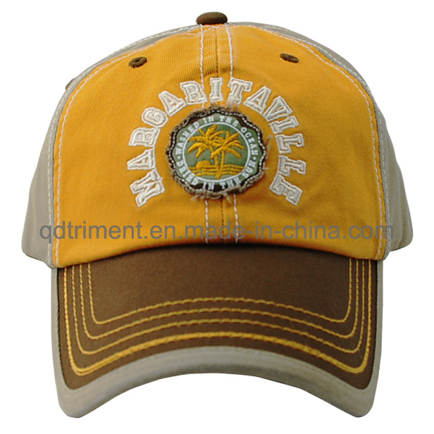 Fashion Washed Embroidery Sandwich Twill Golf Baseball Cap (TMB9068)