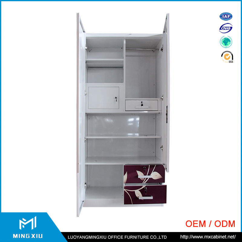 Indian Style High Quality 2 Door Steel Bedroom Wardrobe Design