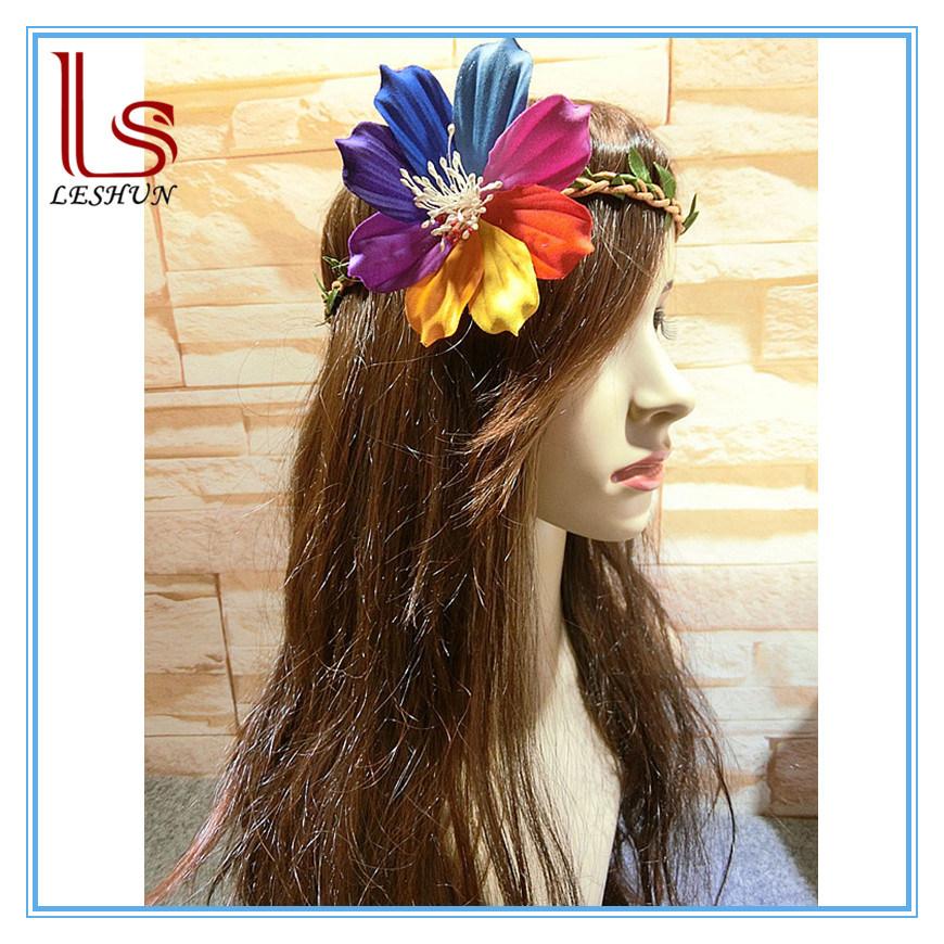 Bohemia Women Seaside Big Peony Flower Wreath Hair Accessories