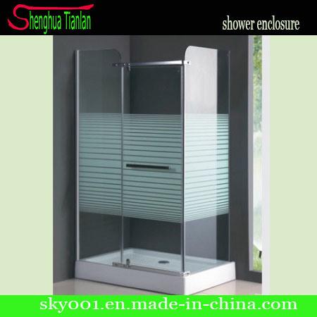 Rectangle Tempered Fiberglass Glass Bathroom Hinge Shower Cubicle (TL-509)