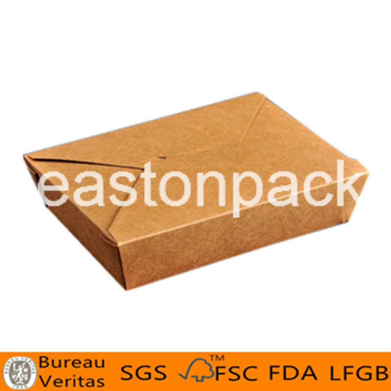 Disposable Kraft Take Away Square Bottom Chinese Paper Noodle Box