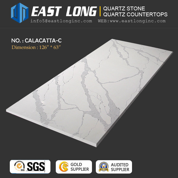3200*1600mm Calacatta Quartz Stone Countertops for Kitchentops/Engineered Stones with Marble Vein (SGS/CE)