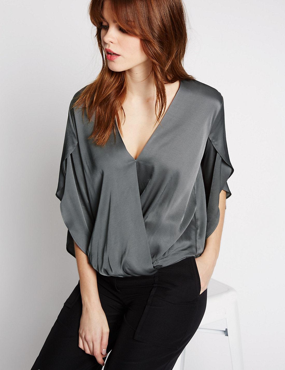 High Quality Wrap V-Neck Split Sleeve Blouse