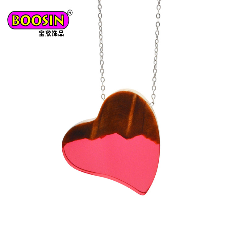 2017 Fashion Women Custom 925 Sterling Silver Chain Jewelry Wood Pendant Necklace