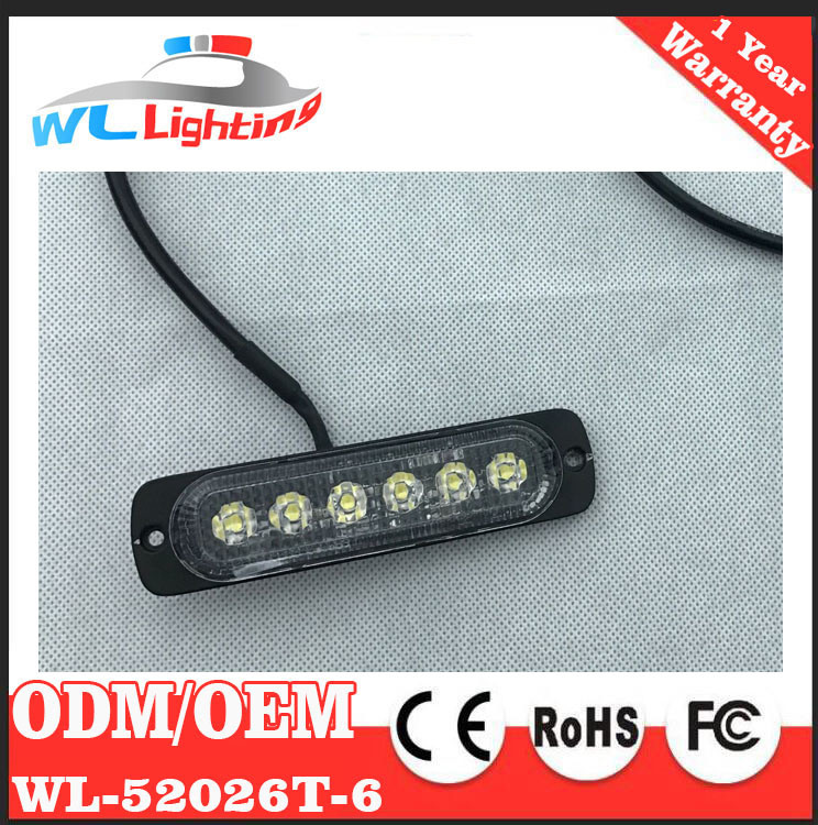 Super Slim Surface Mount Warning Light 6 LED Flashing Lamp