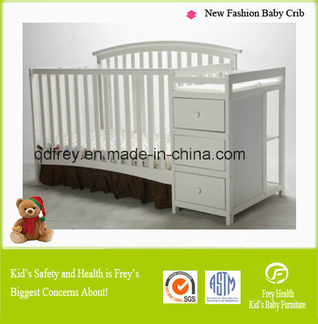 Hot Sale America Style Baby Crib with Changing Table