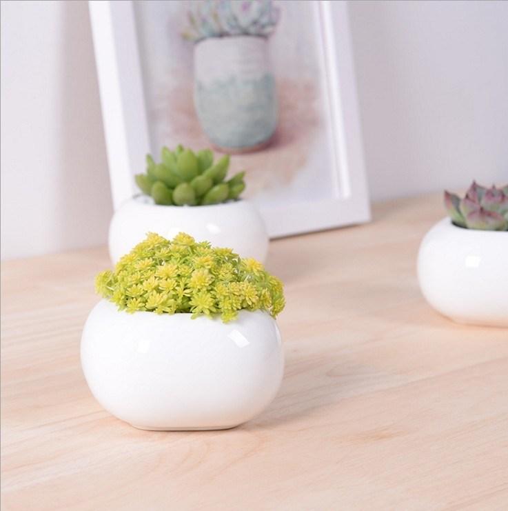 Creative Miniature Square White Ceramic Flowerpot
