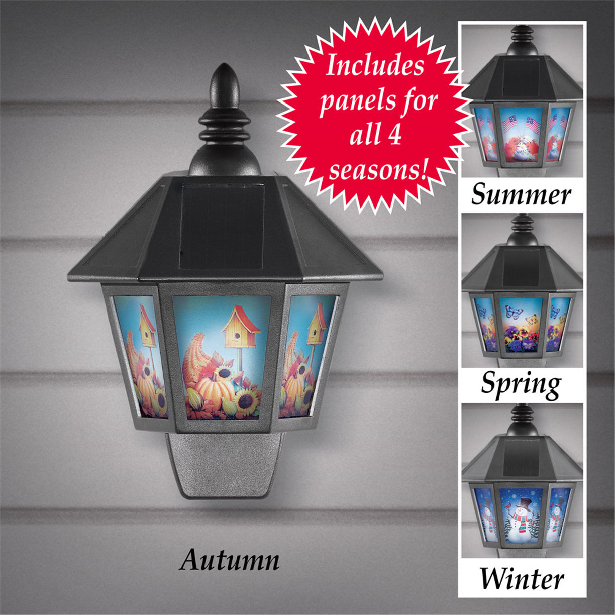 Solar Four Season Outdoor Holiday Wall Light