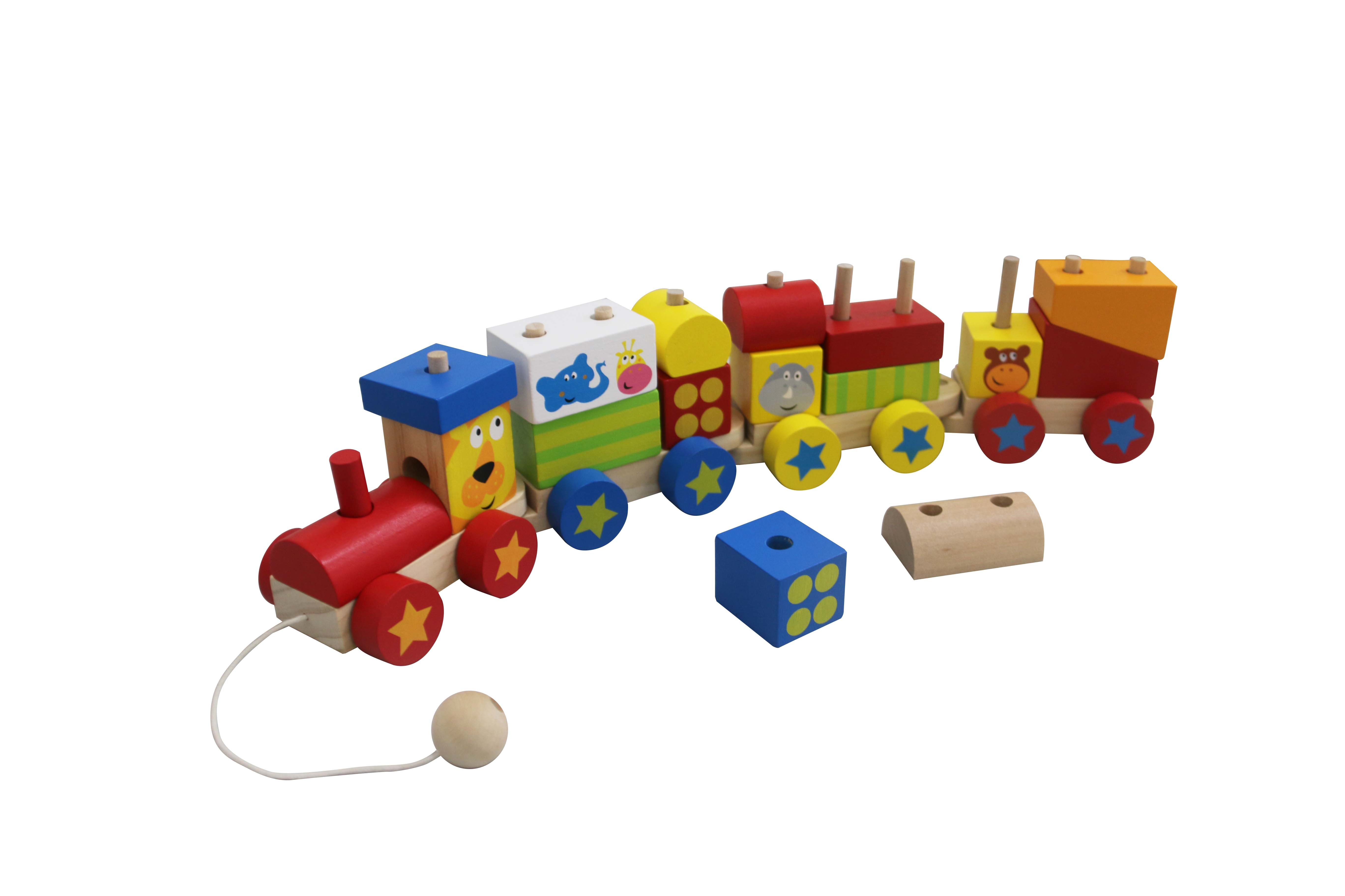 Wooden Block Train Toy with 4 Carriage for Toddlers