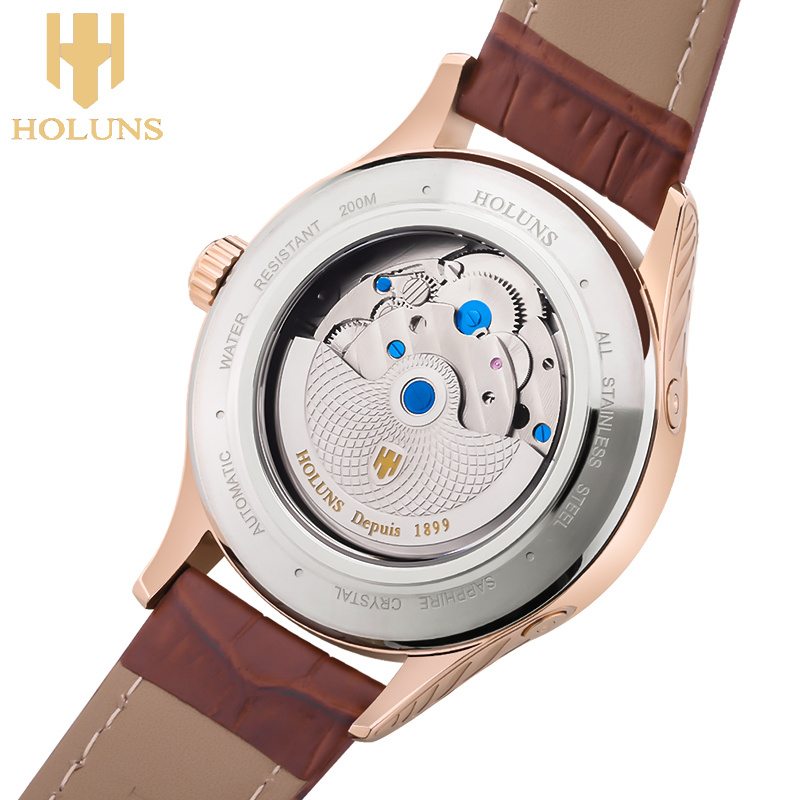 Men′s Fashion Brand Hollow Retro Classic Watches Fashion Crystal Leather Strap