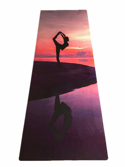 Eco Friendly Natural Rubber Yoga Mat Heat Transfer Printed Anti Slip