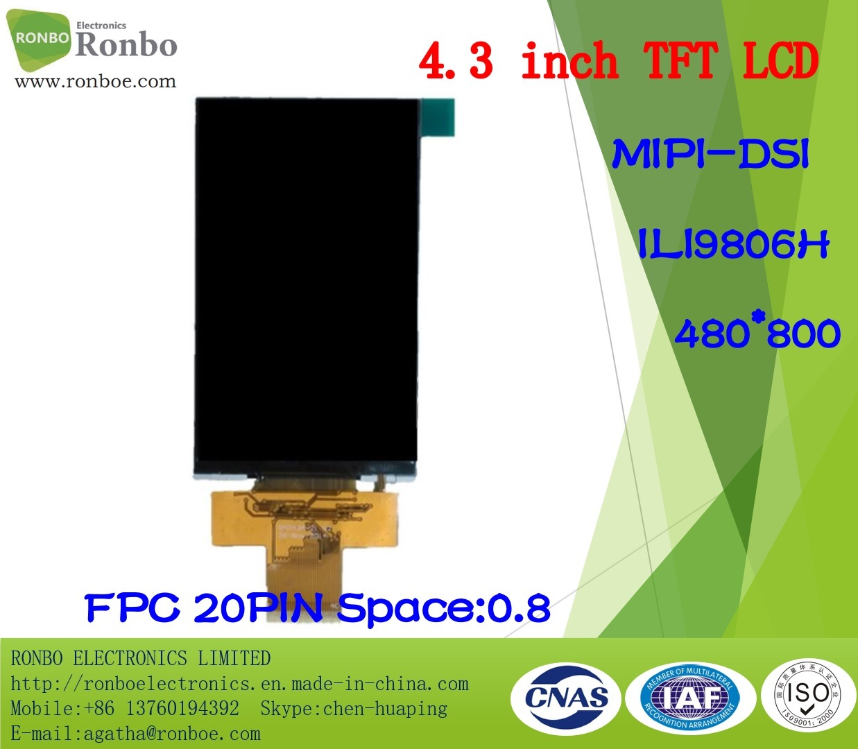 "4.3"" 480X800 Mipi TFT LCD Display, Ili9806h, 20pin for POS, Doorbell"