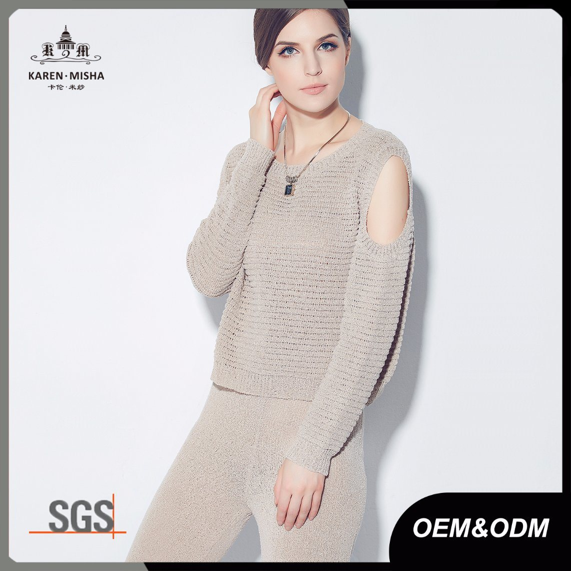 Ribbed Texture Cold Shoulder Ladies Fashion Knitwear