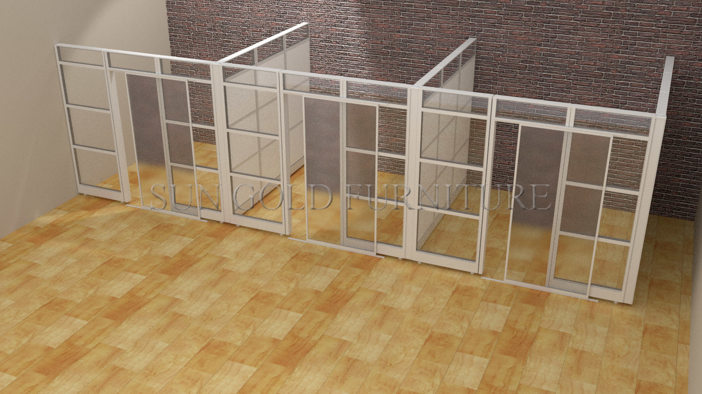 Popular Office Space separation Glass Partition with Sliding Door (SZ-WS685)