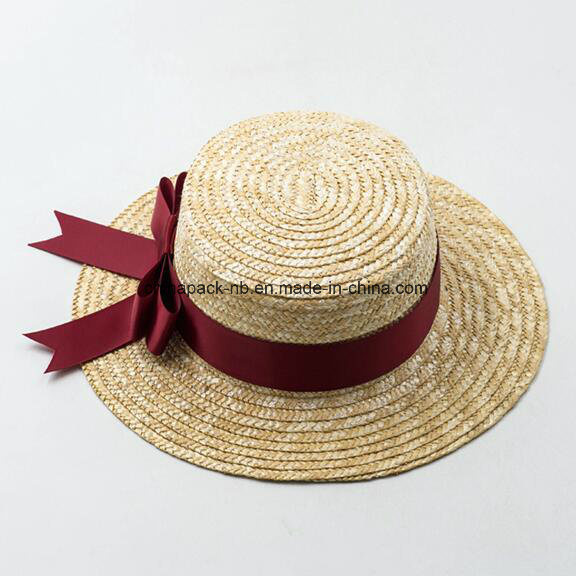 High Quality Canotier Boater Wheat-Straw Hats with Ribbon or Flower (CPA_80056)