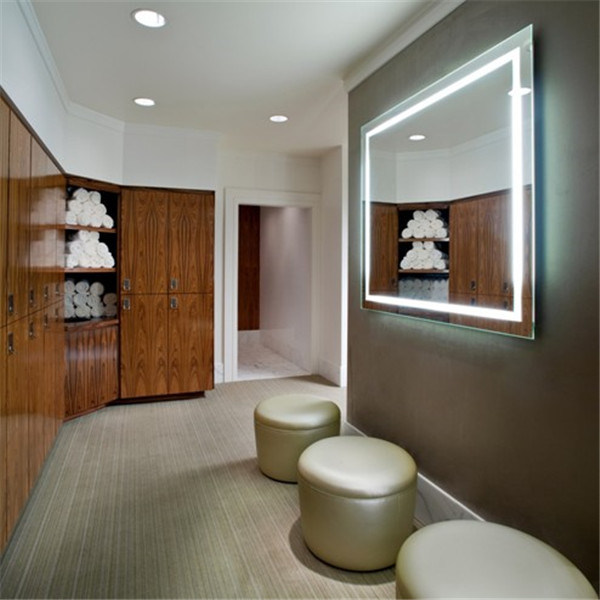 Wall Mounted LED Wood Framed Lighted Mirror for Hotel
