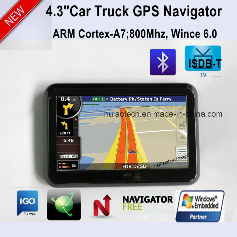 """New 4.3"""" Car Potable Dash GPS Navigator with Bluetooth, FM Transmitter, Tmc, ISDB-T TV Function, AV-in for Parking Camera, Map with Speed Camera GPS-4313"""