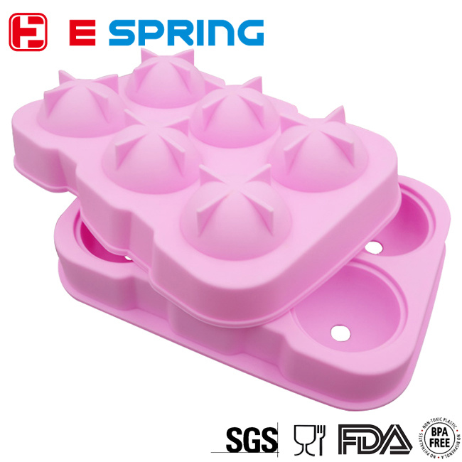 Wholesale 6 Cavity Whiskey Ice Ball Maker Silicone Ice Mold