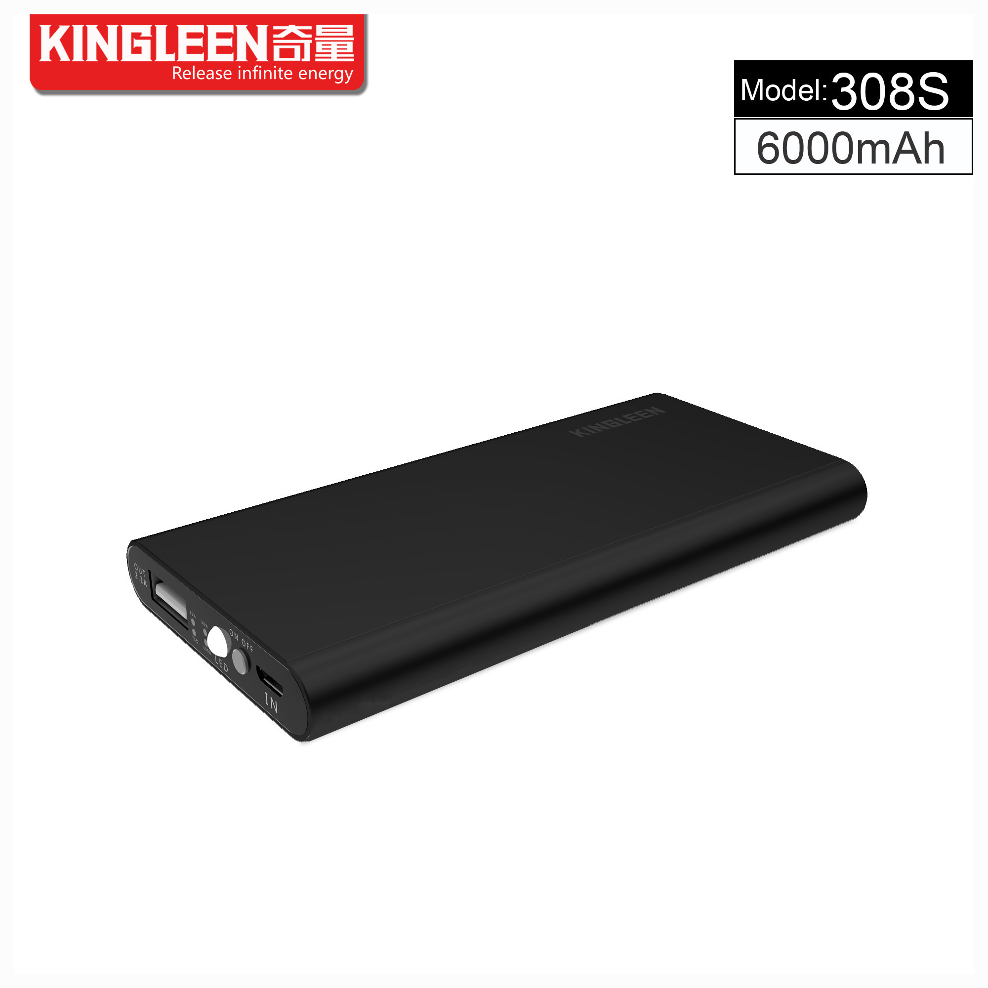 Kingleen Model C308s Power Bank 6000mAh Single USB 1A Output Factory Direct Sale
